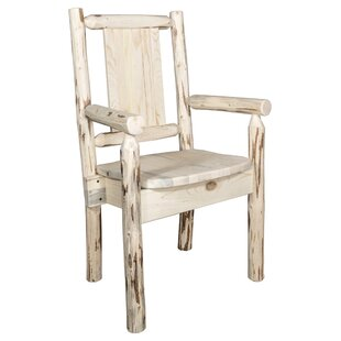 Riddle Rustic Captain's Solid Wood Dining Arm Chair Loon Peak