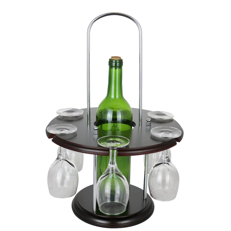 Wine Bodies Wooden Round Glass Holder Display 1 Bottle Tabletop Wine