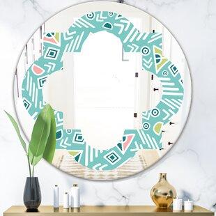 Quatrefoil Pastel Tribal Pattern Modern and Contemporary Frameless Vanity Wall Mirror