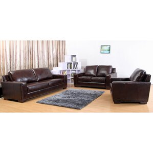 Portsmouth Leather 3 Piece Living Room Set by Red Barrel Studio