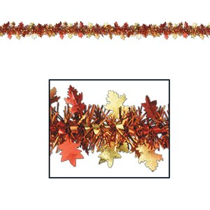 Fall/Thanksgiving FR Metallic Autumn Leaf Banner
