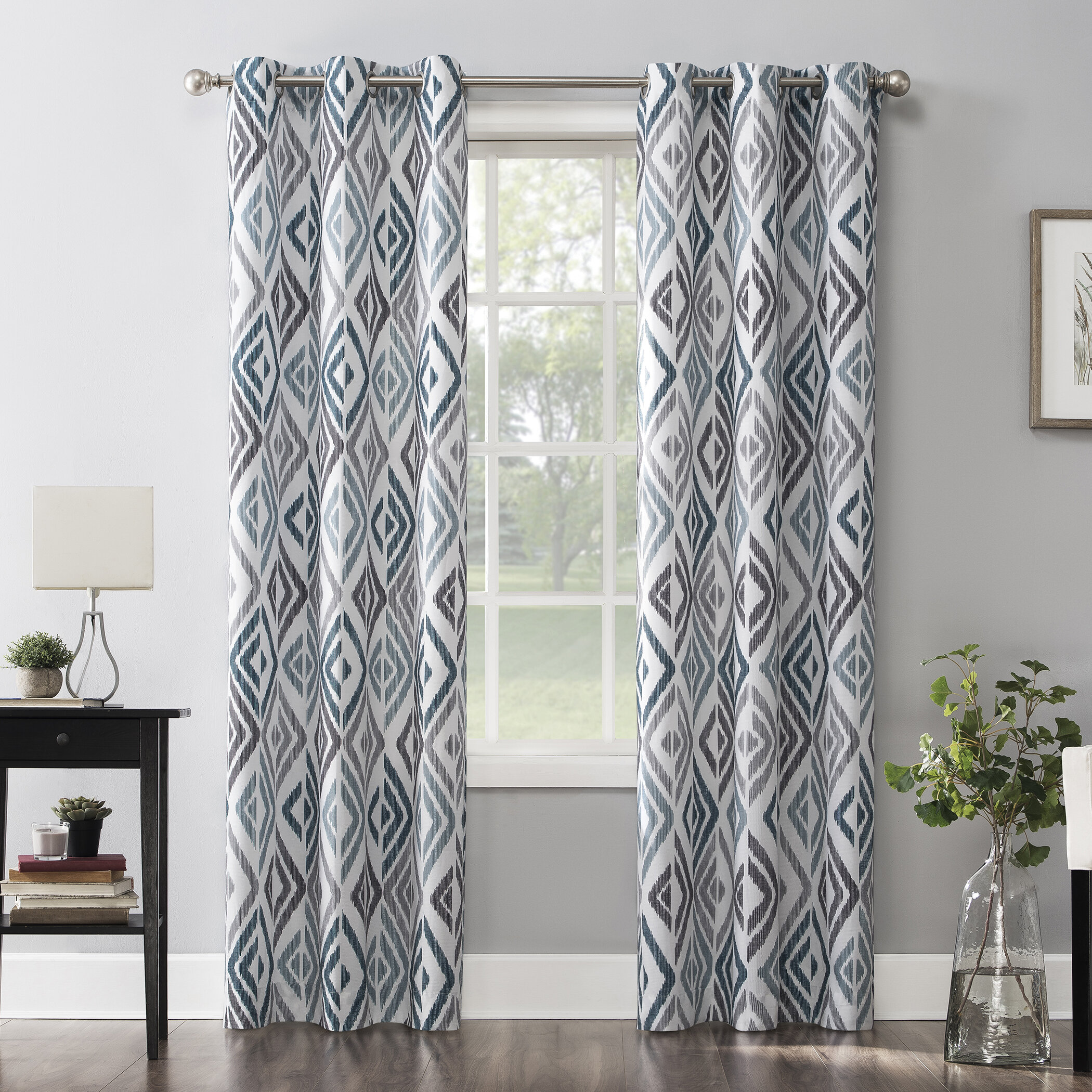 Ivy Bronx Chaunte Ikat Semi Sheer Grommet Single Curtain Panel Reviews Wayfair