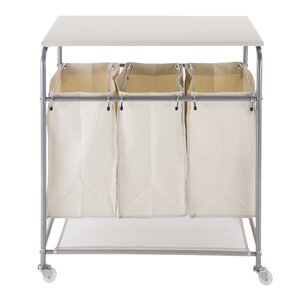 Triple Cart Hamper Laundry Sorter with Ironing Board