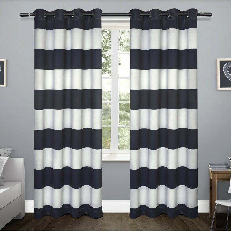 Kids Rugby Striped Blackout Thermal Grommet Curtain Panels