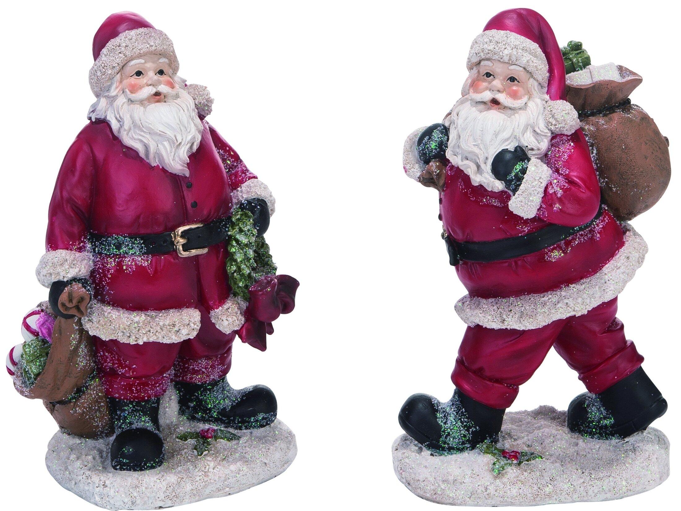 The Holiday Aisle 2 Piece Resin Christmas Vintage Santa Figurine Set Wayfair