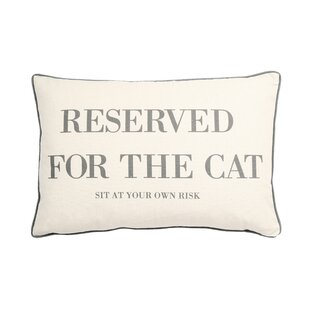 Eldridge Reserved for the Cat Print Rectangular Cotton Lumbar Pillow