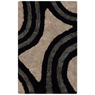 Affordable Lilo Shaggy Oriental Hand-Tufted Black/White/Gray Area Rug By Ebern Designs