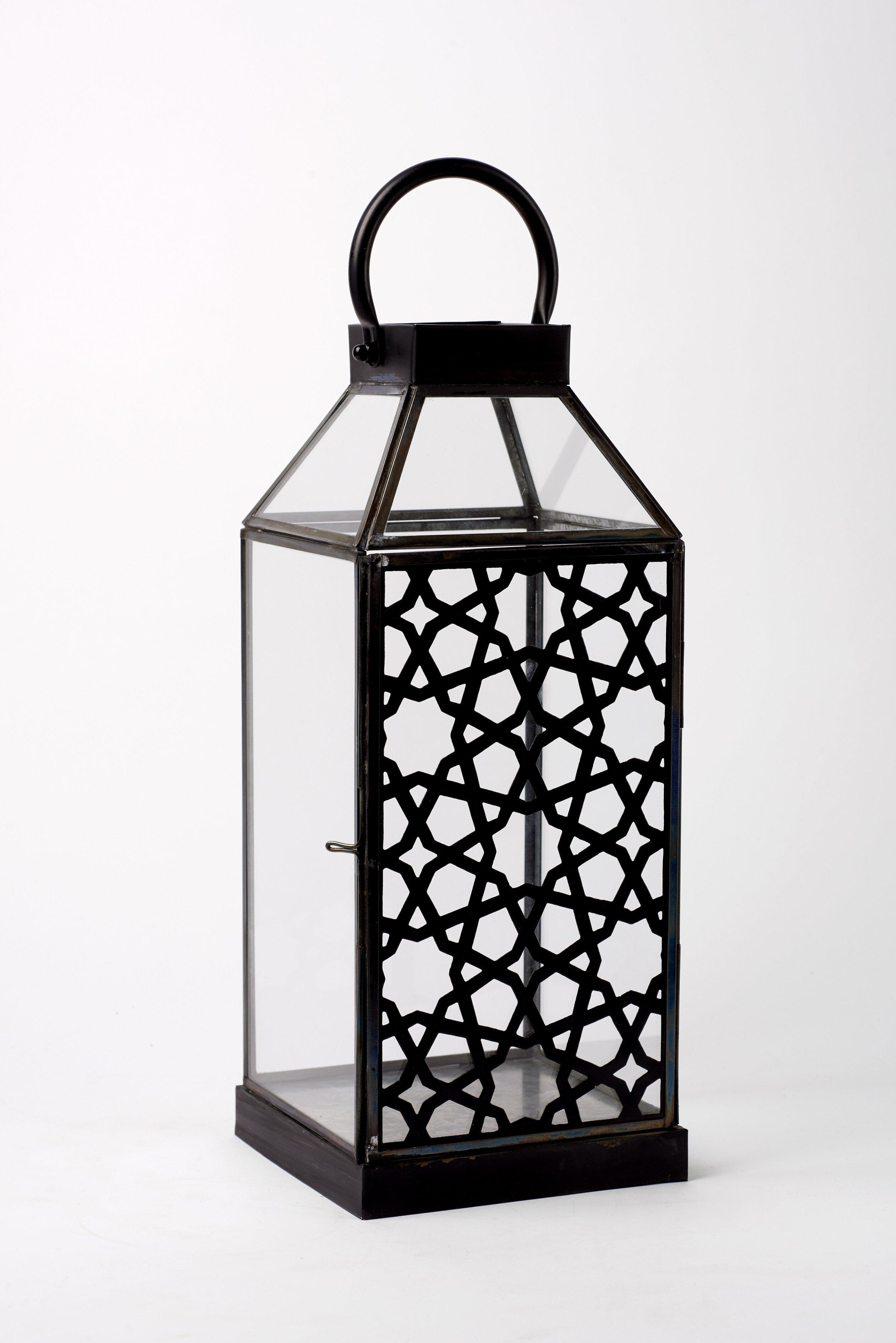Gracie Oaks Arabesque Shadow Glass And Metal Lantern Wayfair
