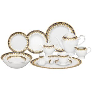 Iris Porcelain 57 Piece Dinnerware Set, Service for 8