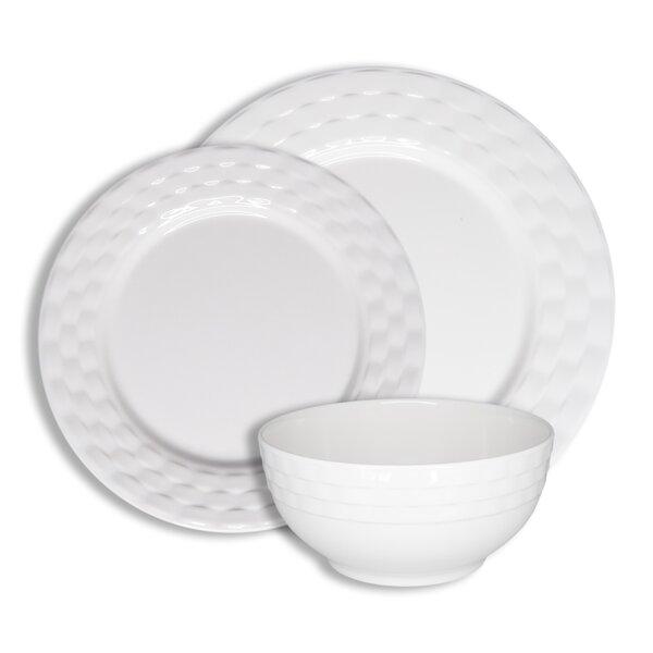 LNT LINENS N THINGS White Ceramic Basketweave Pattern Bowl