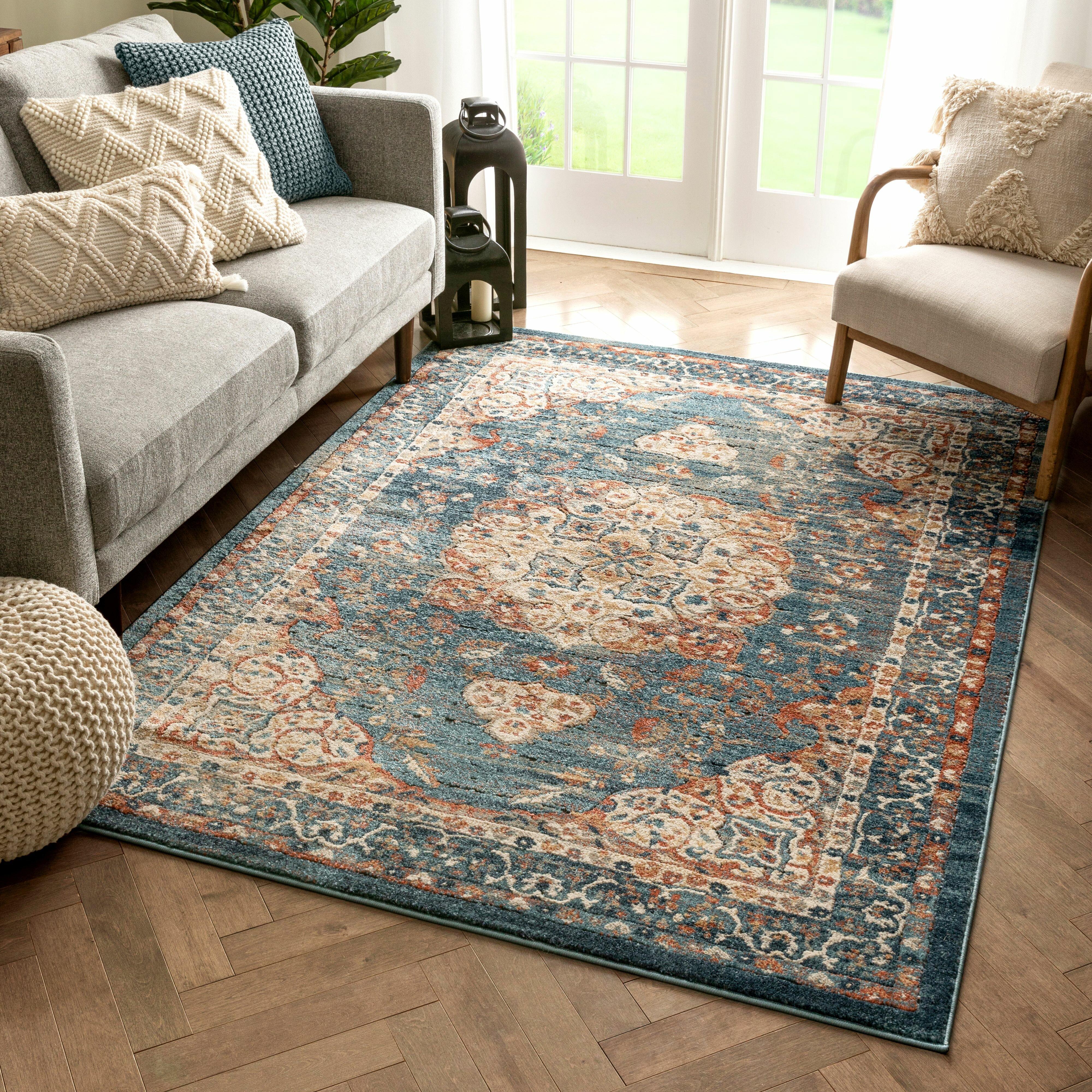 Blue Rug Traditional Vintage Medallion Area Rugs Living Room Dining Floor Carpet