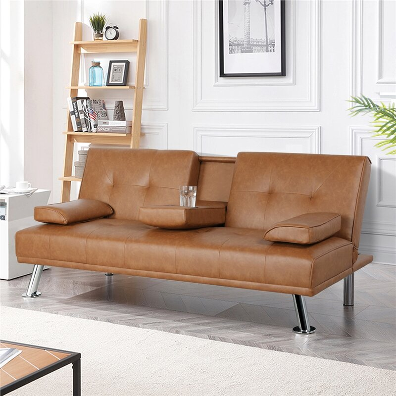 Janni Twin 66'' Wide Faux Leather Biscuit Back Convertible Sofa