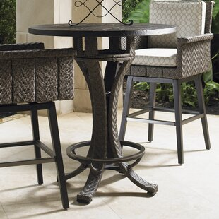 Blue Olive Wicker Rattan Bar Table