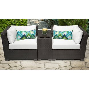 TK Classics Barbados 3 Piece Rattan Conversation Set with Cushions
