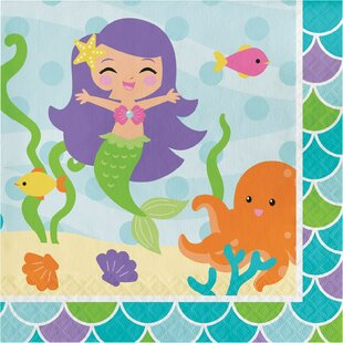 Mermaid Friends Paper Disposable Lunch Napkins (Set of 16)