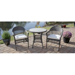 August Grove Hallock 3 Piece Bistro Set with Cushion