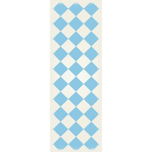Find a Shoucair Diamond European Light Blue/White Indoor/Outdoor Area Rug By Winston Porter