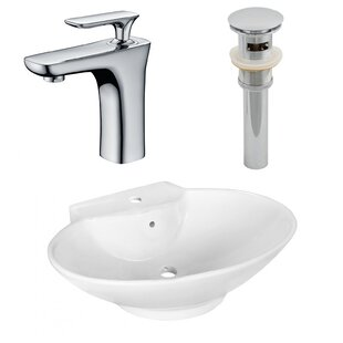 American Imaginations Ceramic Oval Vessel Bathroom Sink with Faucet and Overflow