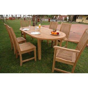 Rosecliff Heights Farnam 7 Piece Teak Wood Dining Set