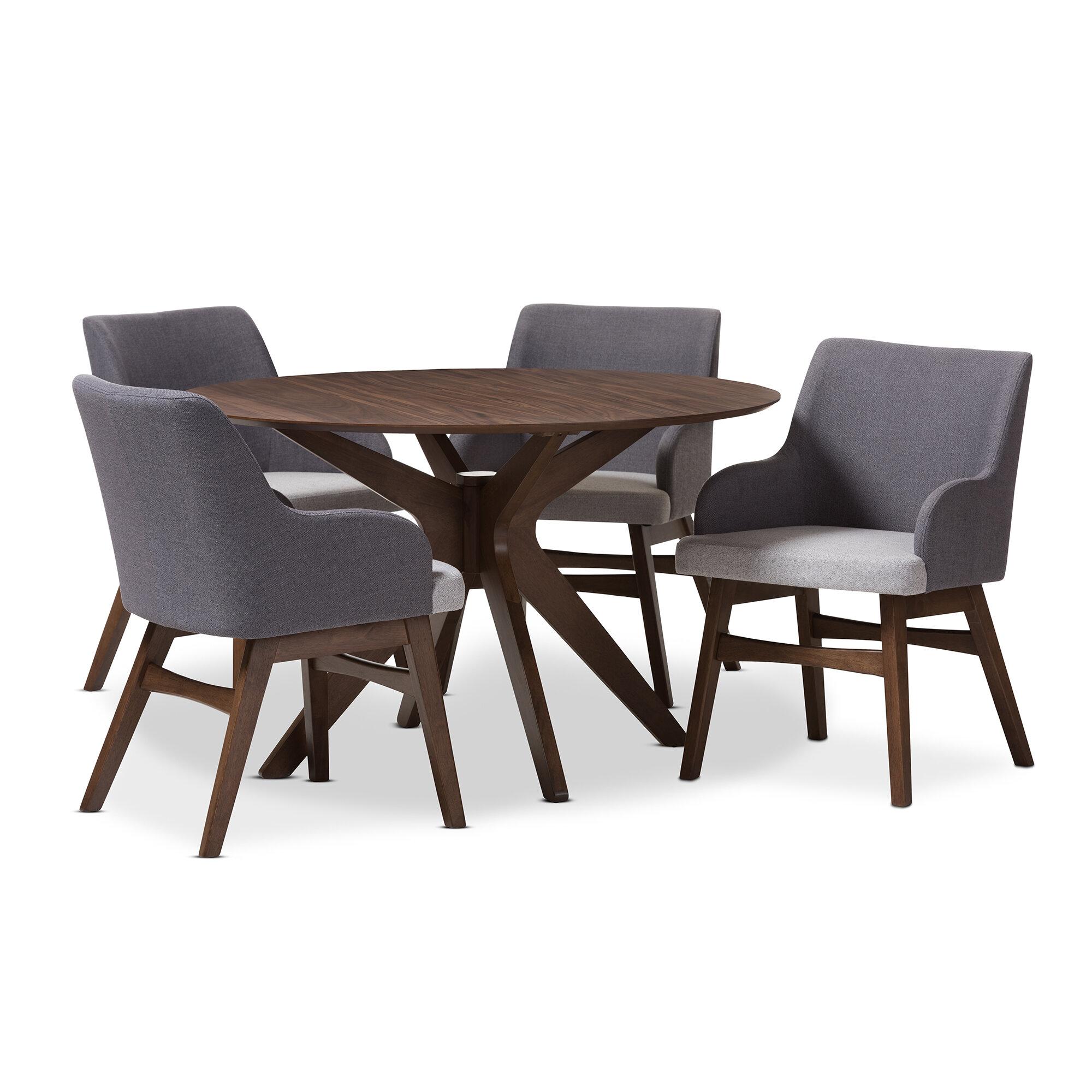 Monte Mid-Century Modern Wood Round 5 Piece Dining Set