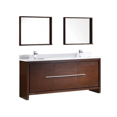 fresca trieste allier 72 double bathroom vanity set with mirror rh wayfair com