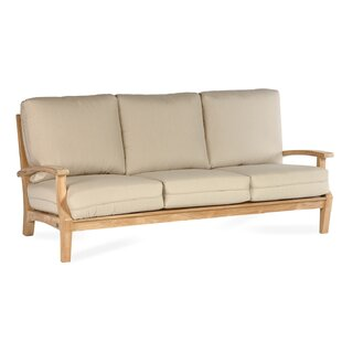 Boyle Teak Patio Sofa with Sunbrella Cushion by Rosecliff Heights