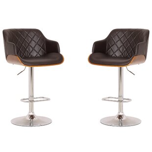 Steck Adjustable Height Swivel Bar Stool (Set of 2)