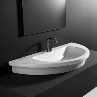 WS Bath Collections Kart Ceramic U-Shaped Vessel Bathroom Sink