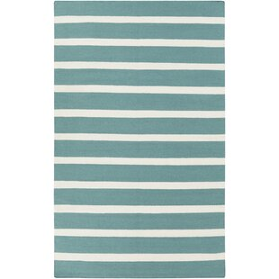 Best Reviews Kramer Ivory/Teal Green Striped Area Rug By Winston Porter