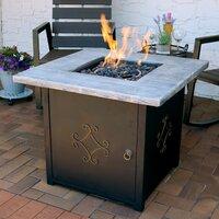Deals on Fleur De Lis Living Margate Lava Rock Stone Propane Gas Fire Pit Table
