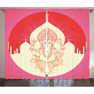 Briella Indian Graphic Print and Text Semi-Sheer Rod Pocket Curtain Panels (Set of 2) by World Menagerie