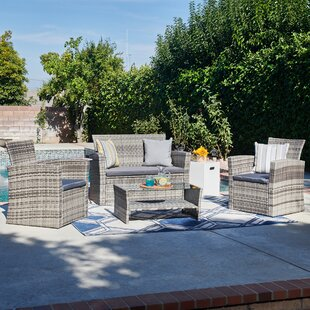 Brad 4 Piece Rattan Sofa Seating Group with Cushions