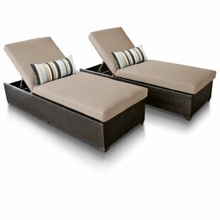 Classic Reclining Sun Lounger Set with Cushion (Set of 2)