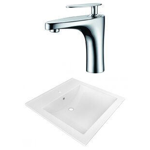 American Imaginations 1 Hole Ceramic Rectangular Vessel Bathroom Sink with Faucet and Overflow