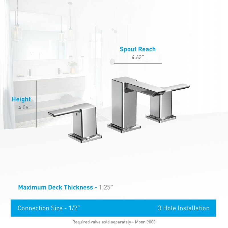 Moen 90 Degree Widespread Bathroom Faucet with Drain Assembly ...