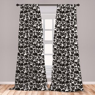 Ambesonne Gothic Curtains, Grunge Black Human Skulls On White Backdrop Evil  Men Fear Horror Death Skeleton, Window Treatments 2 Panel Set For Living ...