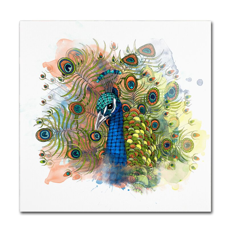 Trademark Art Percival The Peacock Graphic Art Print On Wrapped Canvas Wayfair