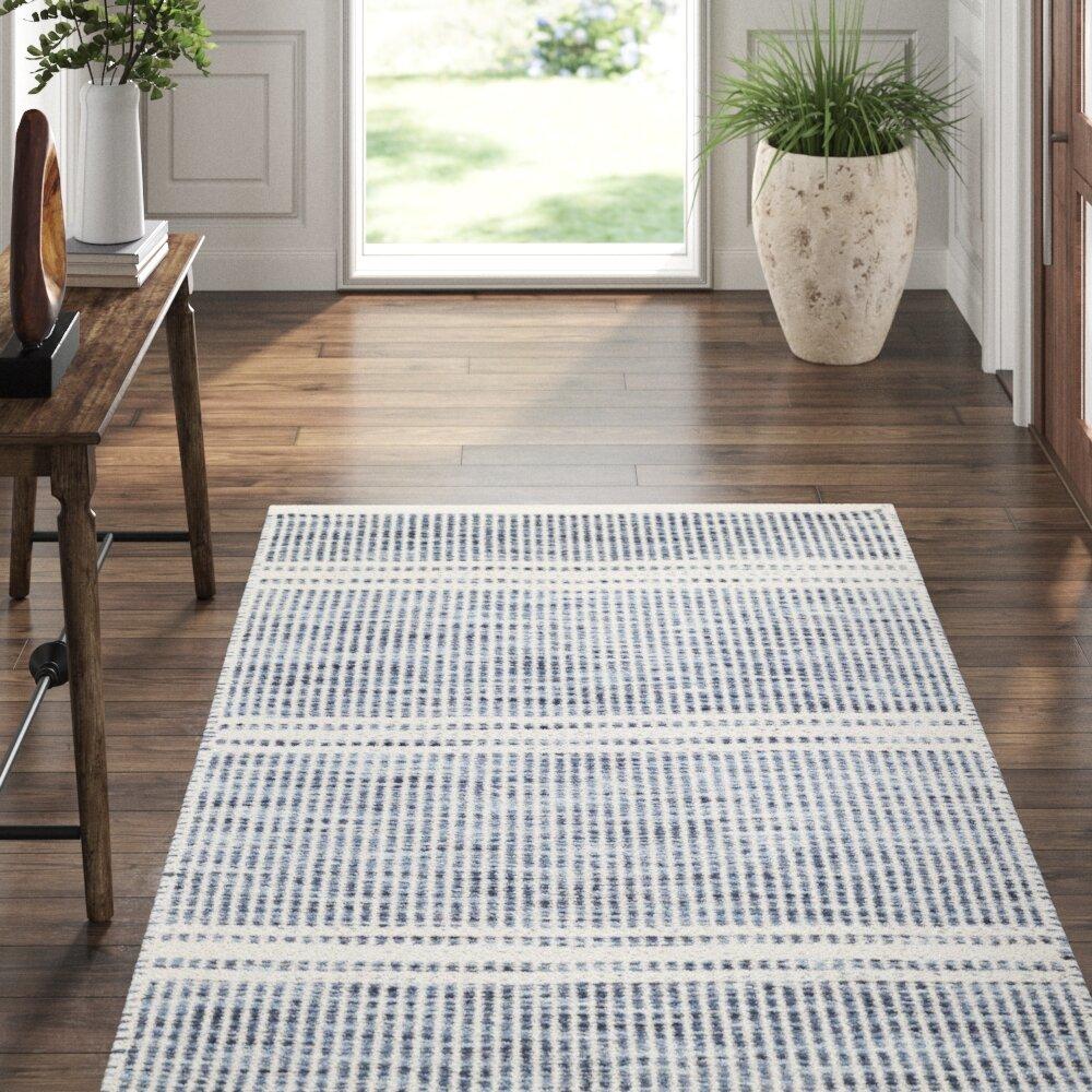 Dash And Albert Rugs Malta Striped Handmade Flatweave Wool Blue Area Rug Reviews Perigold