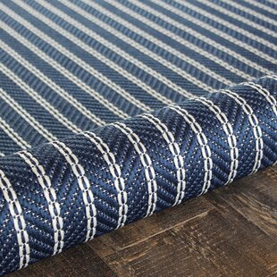 Reviews Zainab Striped Blue/White Indoor/Outdoor Area Rug By Highland Dunes