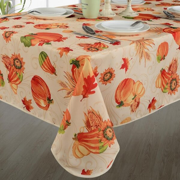 Fall Harvest Pumpkins and Corn Tablecloth