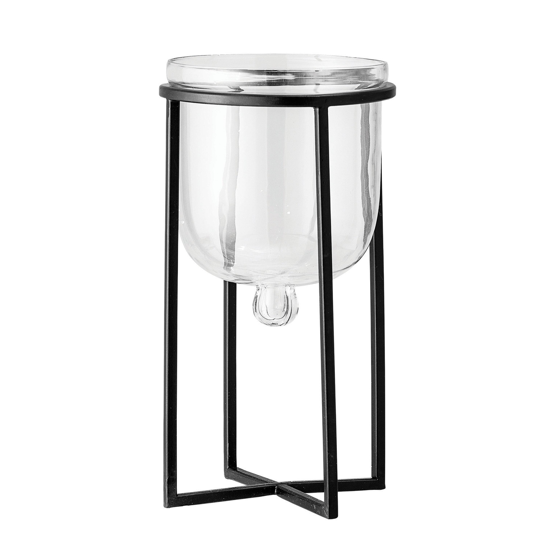Metal Holder and Framed Edges Beveled Glass Pillar Candlestick