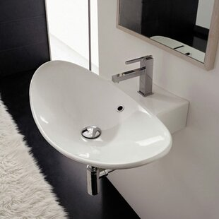 Top Reviews Zefiro Ceramic 20 Wall Mount Bathroom Sink with Overflow ByScarabeo by Nameeks