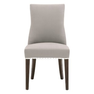 Malley Tufted Cotton Upholstered Parsons Chair in Ash Set of 2 by Winston Porter