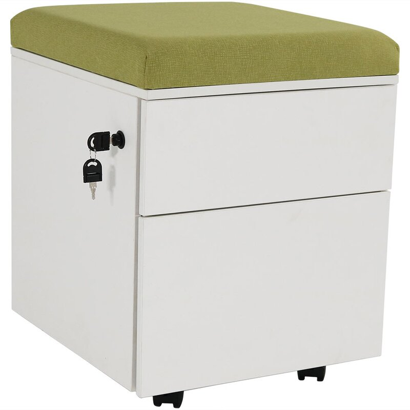 Koeller Rolling Wheeled Storage 2 Drawer Vertical Filing Cabinet