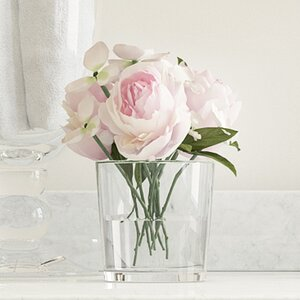 Hydrangea and Rose Arrangement in Glass Vase