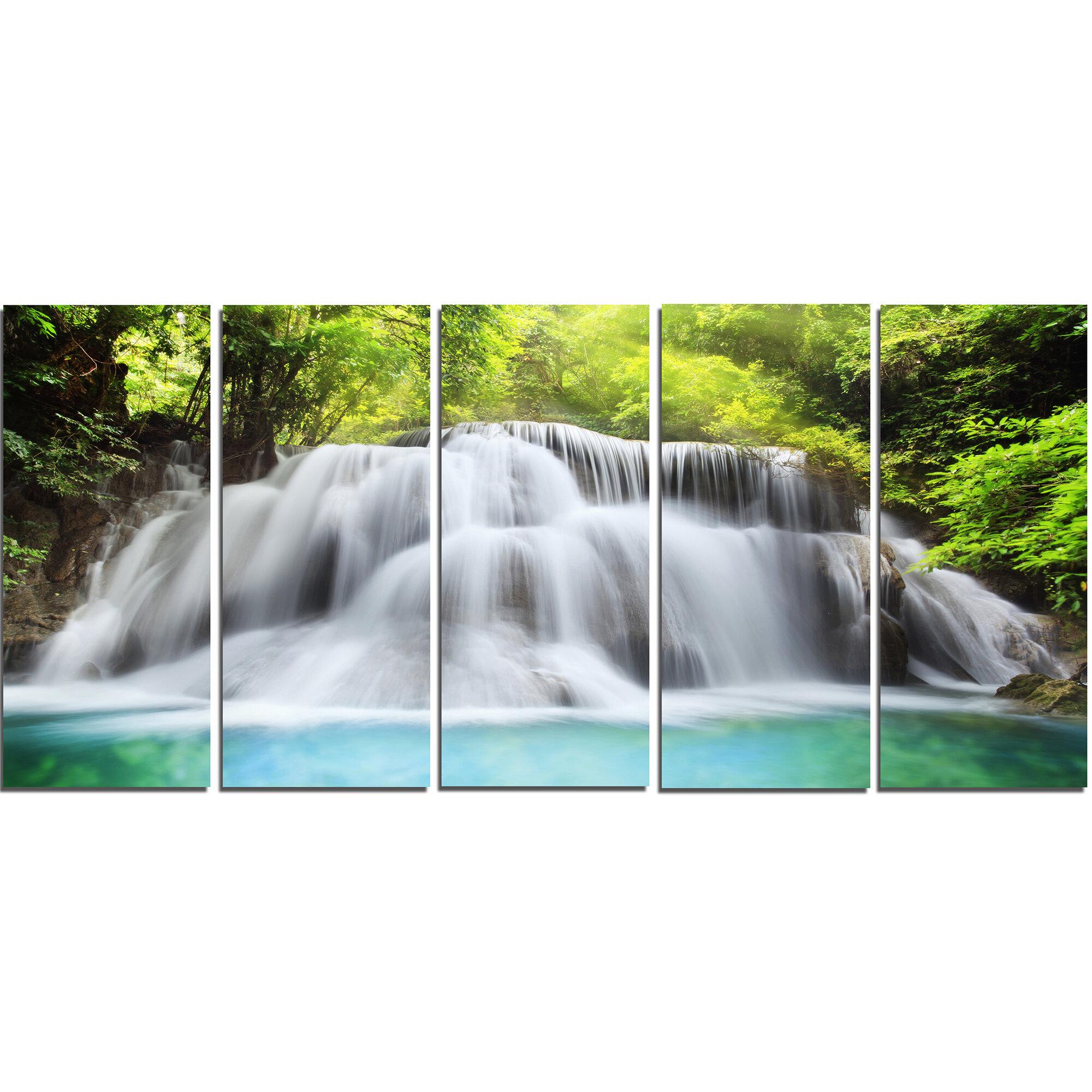 Designart Huai Mae Kamin Waterfall 5 Piece Wall Art On Wrapped Canvas Set Wayfair