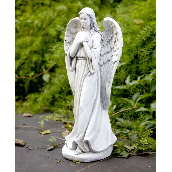 5.5 Inch Poly Stone Angel Kneeling with Dove in Hands Figurine