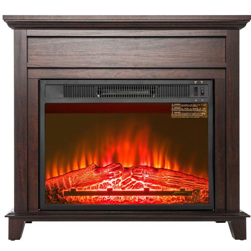Akdy Freestanding Wooden Mantel Flames Electric Fireplace Reviews Wayfair