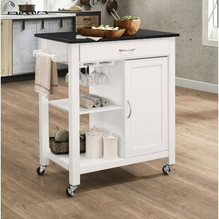 Rodrigues Kitchen Cart with Solid Wood Top Charlton Home
