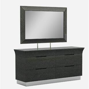 Orren Ellis Sifuentes 6 Drawer Double Dresser with Mirror